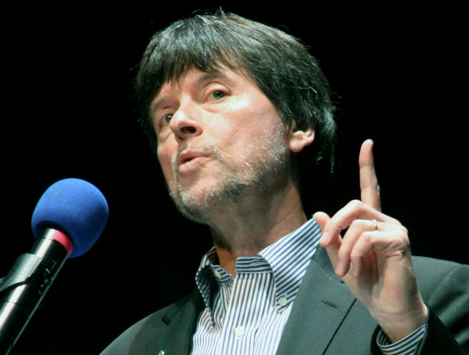 """Ken Burns, famed documentarian, spoke Friday, May 17, 2013 to a packed house in the New Milford High School theateras part of the New Miford Public Library's month-long series called """"Our New Milford, An American Town."""" Photo: Walter Kidd"""