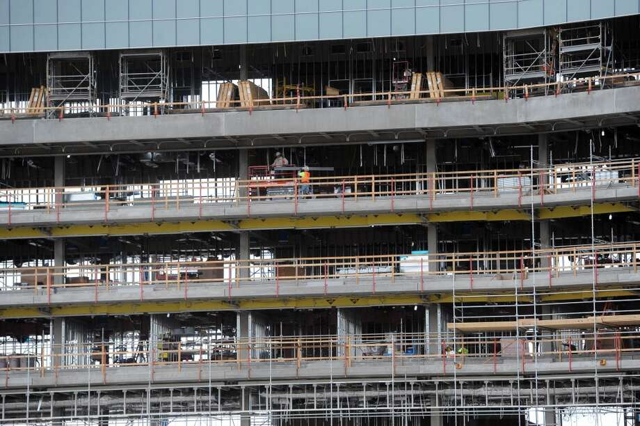 Workers are seen constructing luxury suites at the new 49ers stadium that is being built in Santa Clara on March 6, 2013.