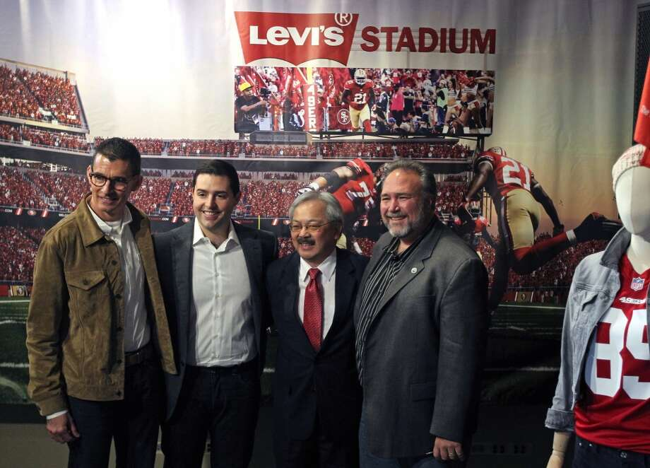 Chip Bergh CEO of San Francisco based Levi Strauss & company, Jed York, CEO of the San Francisco 49ers, Ed Lee mayor of San Francisco San Francisco and Jamie Matthews mayor of Santa Clara announced a proposed partnership for the naming rights for the new stadium now under construction in Santa Clara Wednesday, May 8, 2013 in San Francisco, California.