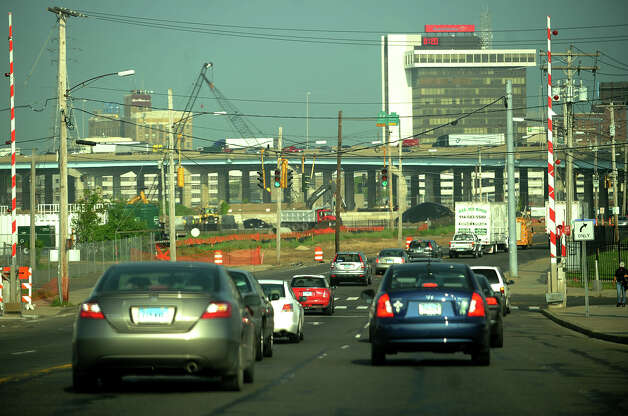 Westbound morning traffic spills over from I-95 to Stratford Avenue in Bridgeport,