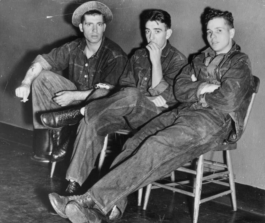 A group of American teenagers wearing denim in 1955.