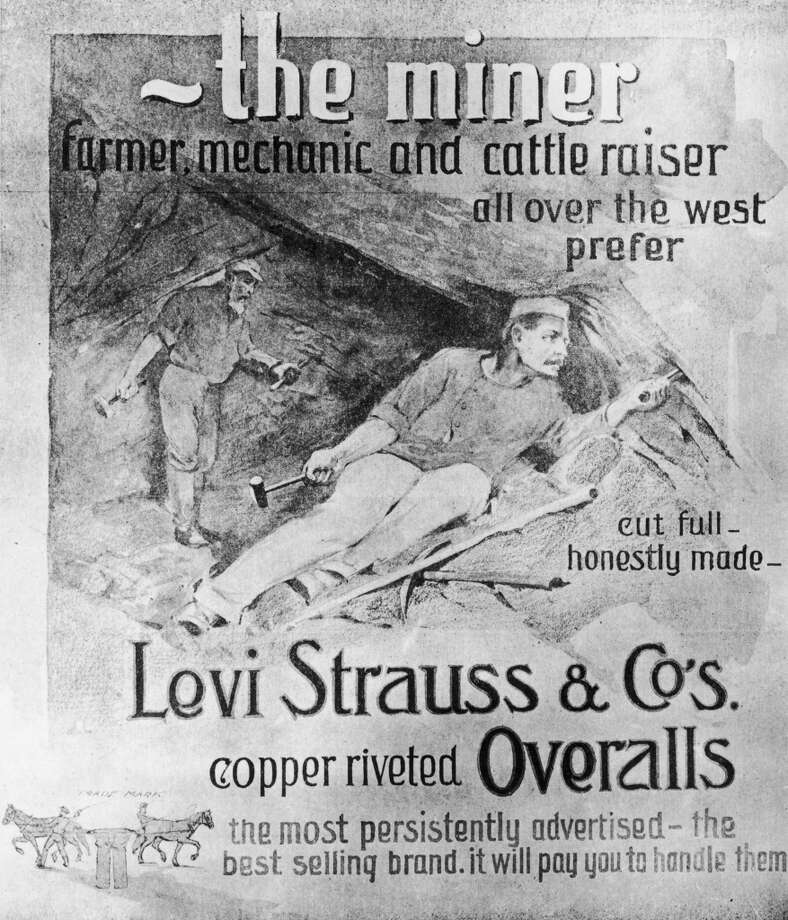 An advertisement for Levi Strauss & Co's copper-riveted overalls, circa 1875. The hard-wearing garments were very popular with miners in the American West.
