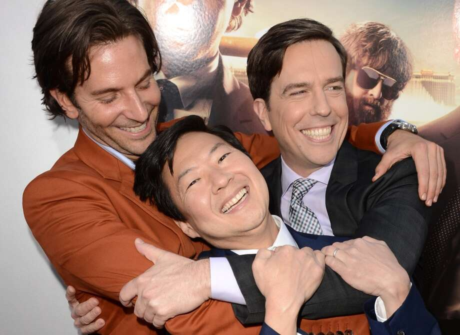 "(L-R) Actors Bradley Cooper, Ken Jeong, and Ed Helms arrive at the premiere of Warner Bros. Pictures' ""Hangover Part 3"" on May 20, 2013 in Westwood, California.  (Photo by Kevin Winter/Getty Images)"
