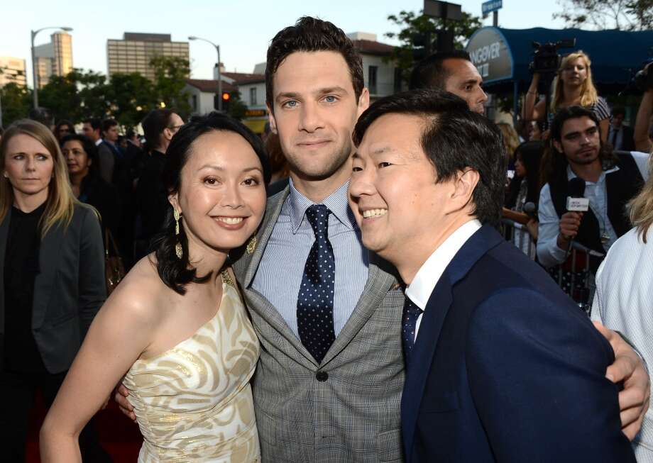 "WESTWOOD, CA - MAY 20:  (L-R) Dr. Tran Ho Jeong, actors Justin Bartha, and Ken Jeong arrive at the premiere of Warner Bros. Pictures' ""Hangover Part 3"" on May 20, 2013 in Westwood, California.  (Photo by Kevin Winter/Getty Images)"