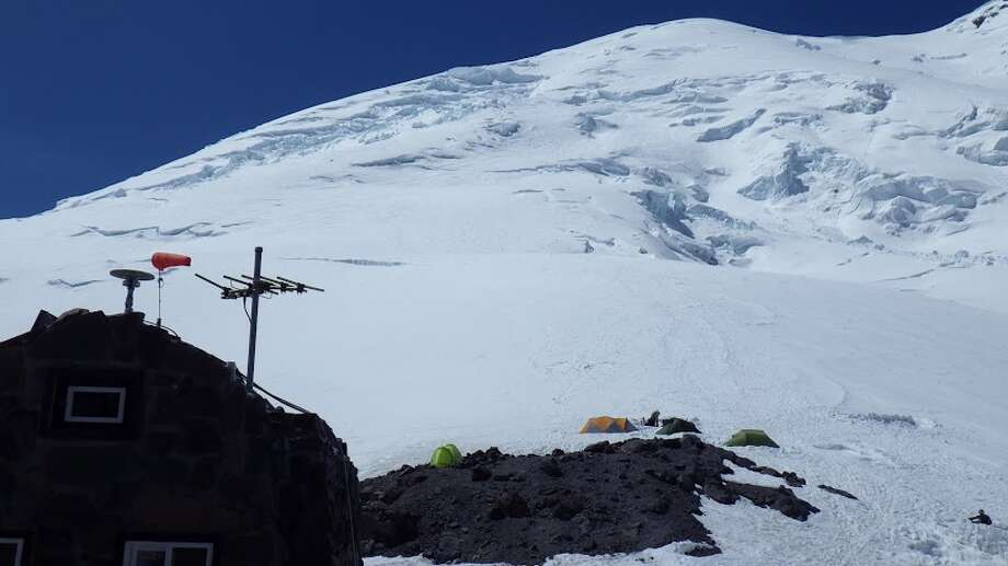 The view from Camp Shurman (essentially a base camp) up the face of Mount Rainier where the four Texans had a tragic accident