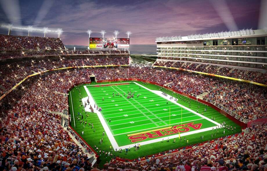 An artist rendering  shows the planned 49ers NFL football stadium in Santa Clara, Calif.  The 49ers and Levi Strauss & Co have reached an agreement for a $220 million, 20-year naming rights deal for the team's future stadium in Santa Clara. The stadium will be called, Levi's Stadium.