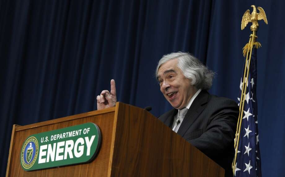 Dr. Ernest Moniz speaks after being sworn in as Energy Secretary, Tuesday, May 21, 2013, during a ceremony at the Energy Department in Washington. Moniz, 68, a professor at the Massachusetts Institute of Technology, replaces Steven Chu, who served as energy secretary in President Barack Obama's first term. Moniz served as an energy undersecretary in the Clinton administration. (AP Photo/Susan Walsh) Photo: Associated Press