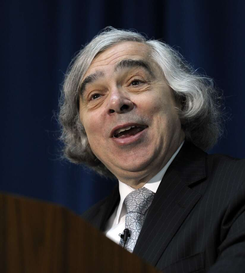 Dr. Ernest Moniz speaks at the Energy Department in Washington, Tuesday, May 21, 2013, after being sworn in as Energy Secretary. Moniz, 68, a professor at the Massachusetts Institute of Technology, replaces Steven Chu, who served as energy secretary in President Barack Obama's first term. Moniz served as an energy undersecretary in the Clinton administration. (AP Photo/Susan Walsh) Photo: Associated Press