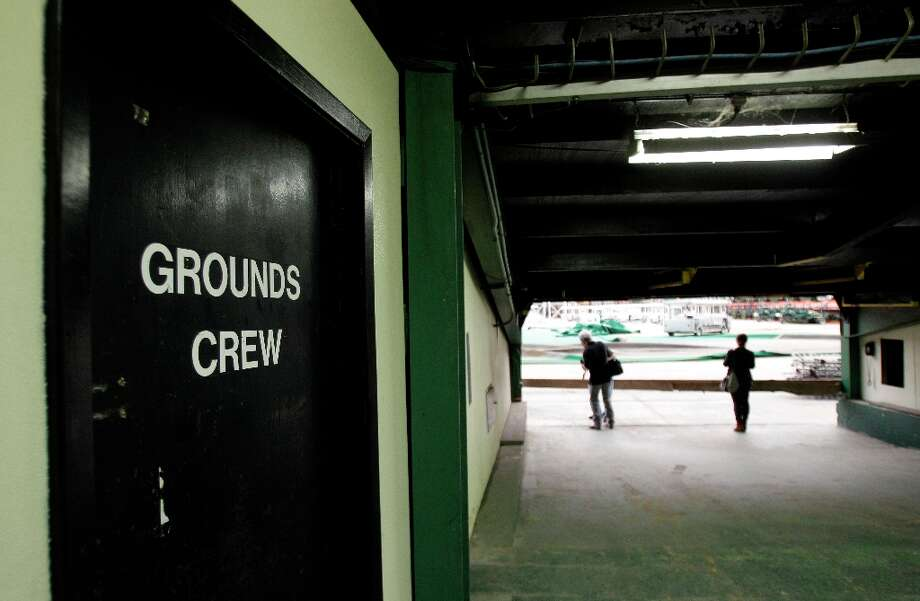 Doorway for the grounds crew is shown in tunnel area during a media tour of the Reliant Astrodome Thursday, March 21, 2013, in Houston. ( Melissa Phillip / Houston Chronicle ) Photo: Melissa Phillip, Houston Chronicle / © 2013  Houston Chronicle