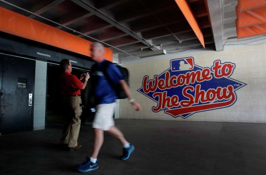 A painted Major League Baseball sign shown on the wall during a media tour of the Reliant Astrodome Thursday, March 21, 2013, in Houston. ( Melissa Phillip / Houston Chronicle ) Photo: Melissa Phillip, Houston Chronicle / © 2013  Houston Chronicle