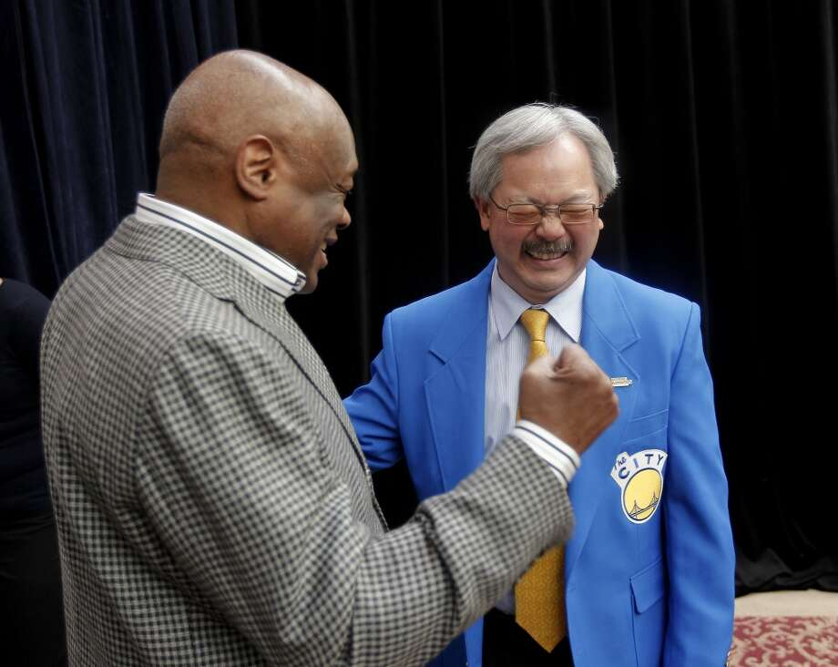Former San Francisco Mayor Willie Brown, (left) and current San Francisco Mayor Ed Lee, at City Hall in San Francisco, Calif. on Tues. May 21, 2013, react to the news that San Francisco will host Superbowl L.