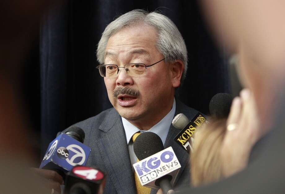 San Francisco Mayor Ed Lee, at City Hall in San Francisco, Calif. on Tues. May 21, 2013, talks to the media about the news that San Francisco will host Superbowl L.