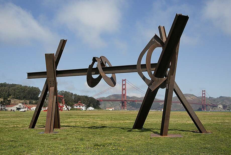"""Magma"" (2008-12), steel sculpture by Mark di Suvero, measures 25 feet tall by 48 feet wide and goes from looking like a giant sawhorse to reading as a message employing different alphabets. Photo: Matthew Millman, © Matthew Millman"