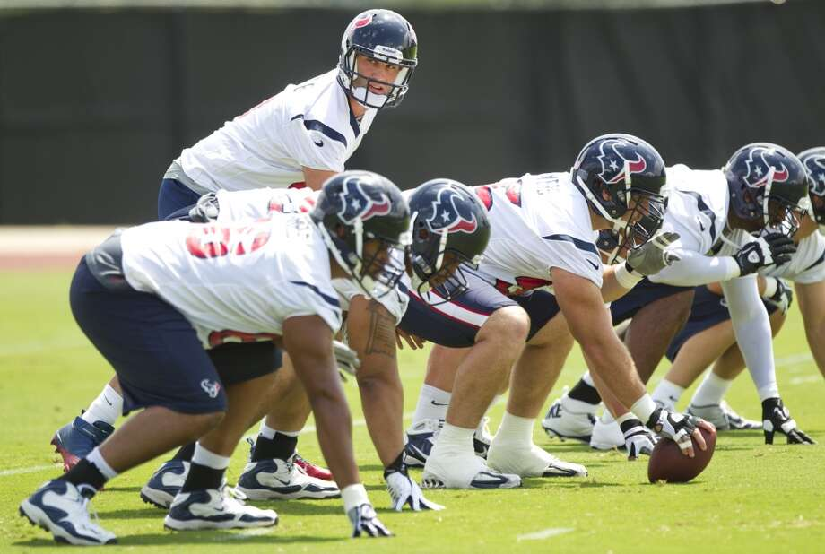 Texans quarterback Matt Schaub lines up under center.