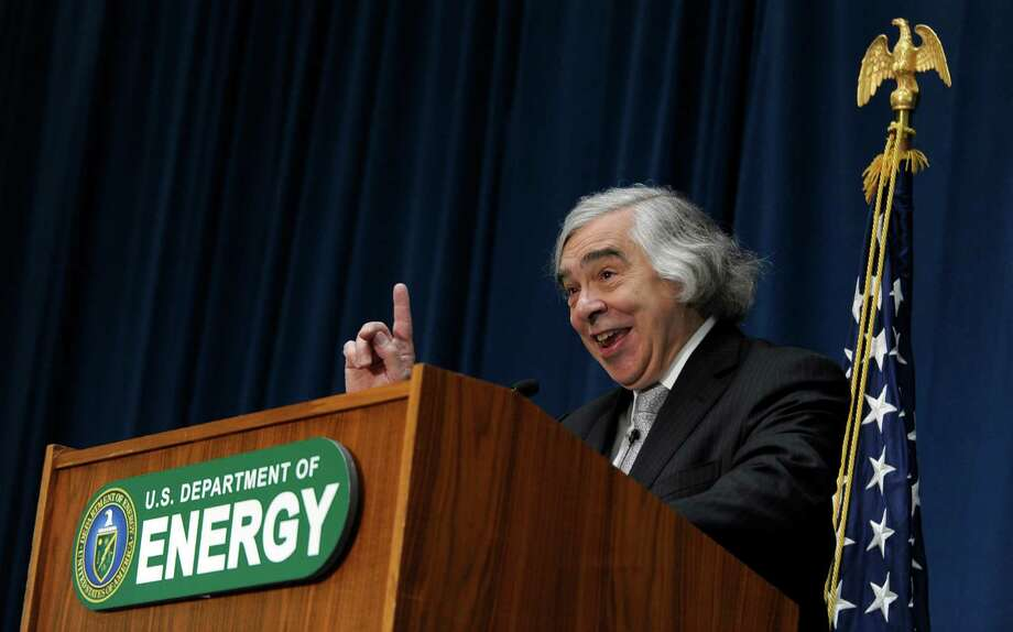 Dr. Ernest Moniz speaks after being sworn in as Energy Secretary, Tuesday, May 21, 2013, during a ceremony at the Energy Department in Washington. Moniz, 68, a professor at the Massachusetts Institute of Technology, replaces Steven Chu, who served as energy secretary in President Barack Obama's first term. Moniz served as an energy undersecretary in the Clinton administration. (AP Photo/Susan Walsh) Photo: Susan Walsh