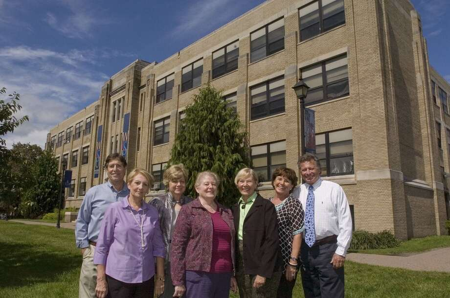 No. 29: Danbury In 2010, the total expenditure per pupil here was $11,943, putting it near bottom for Southwestern Connecticut.  From left, Steve Nargiso, Lucille (Strippoli) Blessey, Elaine (Karcheski) Tomanio, Janet (Daone) Ross, Pat (Murphy) Font, Ginny (Bartley) Young and Roy Young are all members of the Danbury High School Class of 1961. The group poses in front of what used to be Danbury High School on Thursday, Sept. 8, 2011.  The building is now White Hall at Western Connecticut State University.  The class of 1961 will be celebrating its 50th reunion by dedicating a copper beech tree in front of the old high school to those that have died from their class.