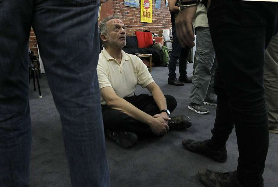 An El Sobrante man named Rick participates in civil disobedience training Saturday in Richmond. Photo: Michael Macor, The Chronicle