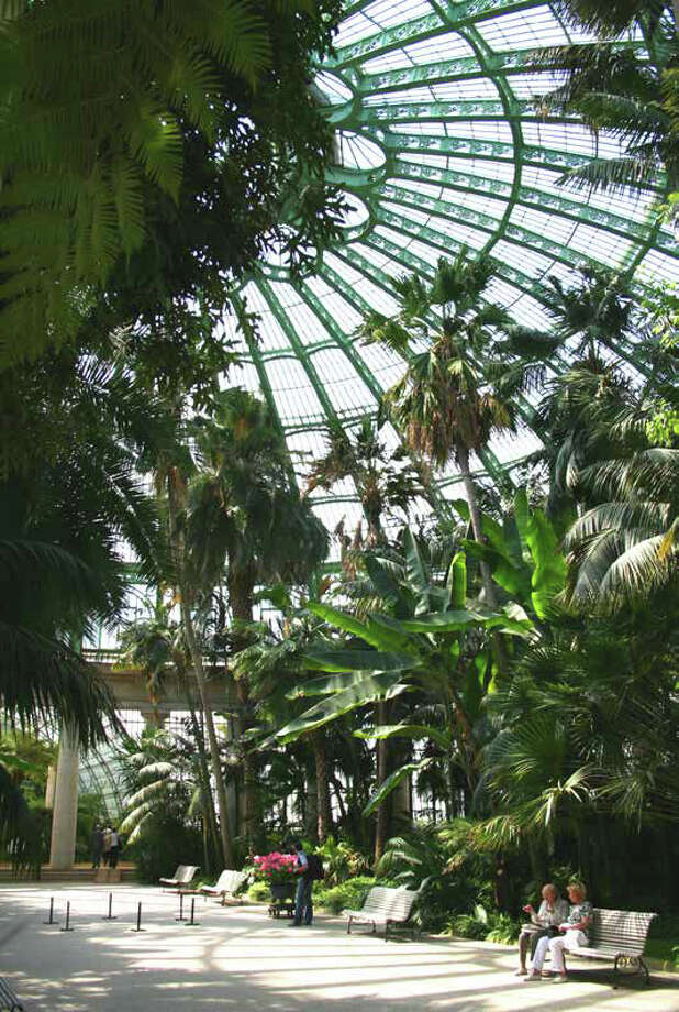 The Royal Greenhouses of Laeken in Brussels, Belgium (pictured) also served as inspiration. Photo: NBBJ Via Amazon,  Seattle Design Review Board