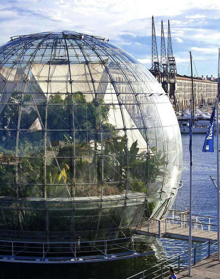 "Amazon drew inspiration from biospheres and greenhouses around the world, including ""La Bolla"" in Genoa, Italy, pictured. Photo: NBBJ Via Amazon,  Seattle Design Review Board"