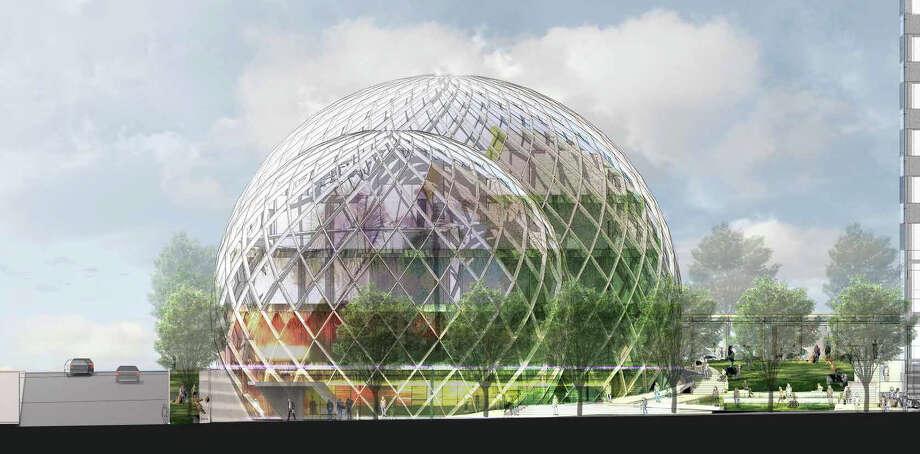 Workin' in the dome.  Photo: NBBJ Via Amazon,  Seattle Design Review Board