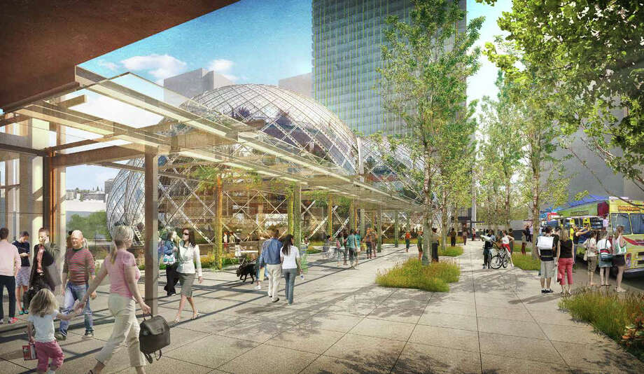 The proposal calls for ground-floor retail and wide sidewalks. Photo: NBBJ Via Amazon,  Seattle Design Review Board