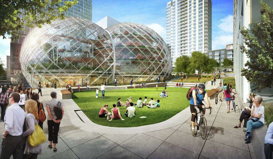 "Amazon says the benefits of its lower, more transparent sphere design include fewer shadows in the area, and a building that ""maximizes nature on the site."" Photo: NBBJ Via Amazon,  Seattle Design Review Board"