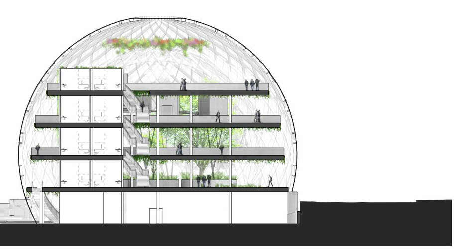 The spheres would be made of layers of glass on a metal framework. Photo: NBBJ Via Amazon,  Seattle Design Review Board