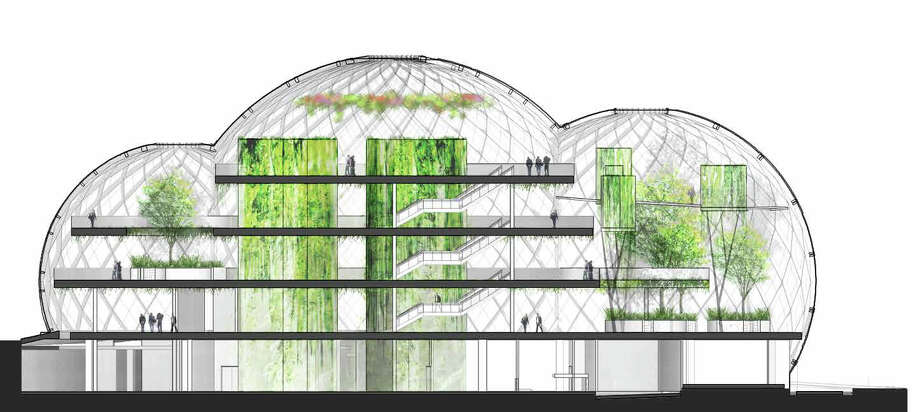 "The offices would have ""high bay spaces"" to accommodate tall trees. Photo: NBBJ Via Amazon,  Seattle Design Review Board"