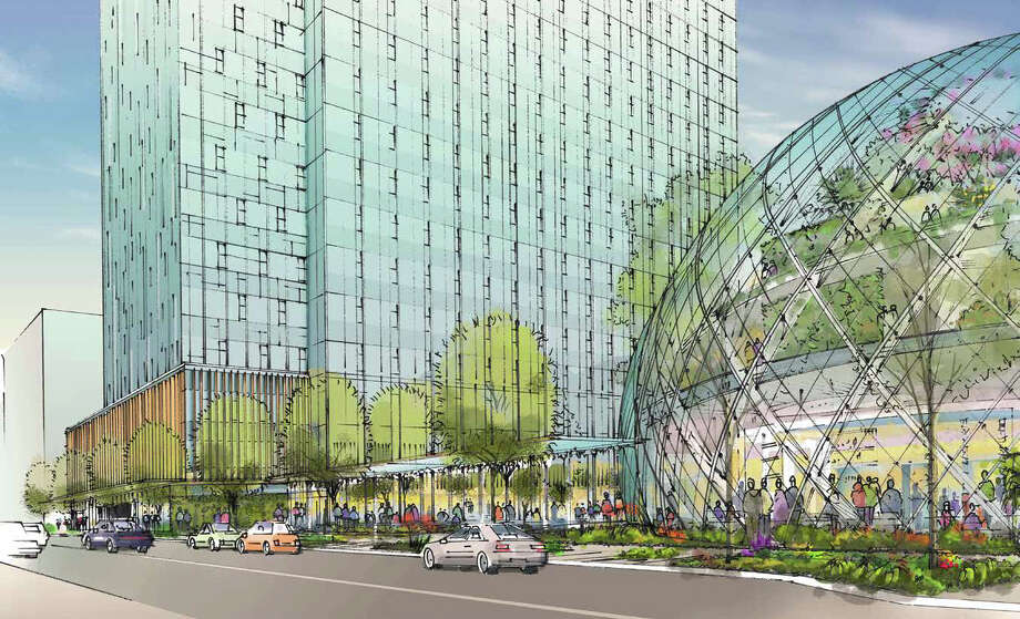 Amazon's proposed sphere-office buildling, as viewed from Sixth Avenue. Photo: NBBJ Via Amazon,  Seattle Design Review Board