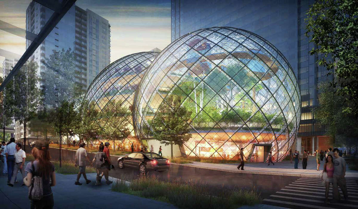 Amazon describes its proposed South Lake Union biospheres as a