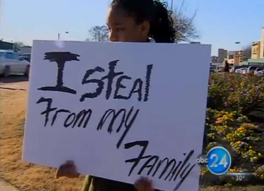 April, 2012: A 13-year-old Memphis girl stole her mom's debit card to reactivate the cell phone her mom turned off. She later paid the price holding a sign at a major intersection. (ABC)