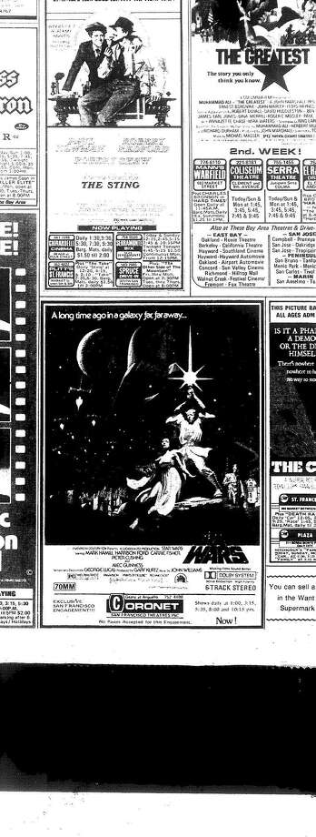 """The ad for """"Star Wars"""" in the San Francisco Chronicle as it appeared on Friday May 27, two days after opening at the Coronet. Photo: Chronicle Archive"""