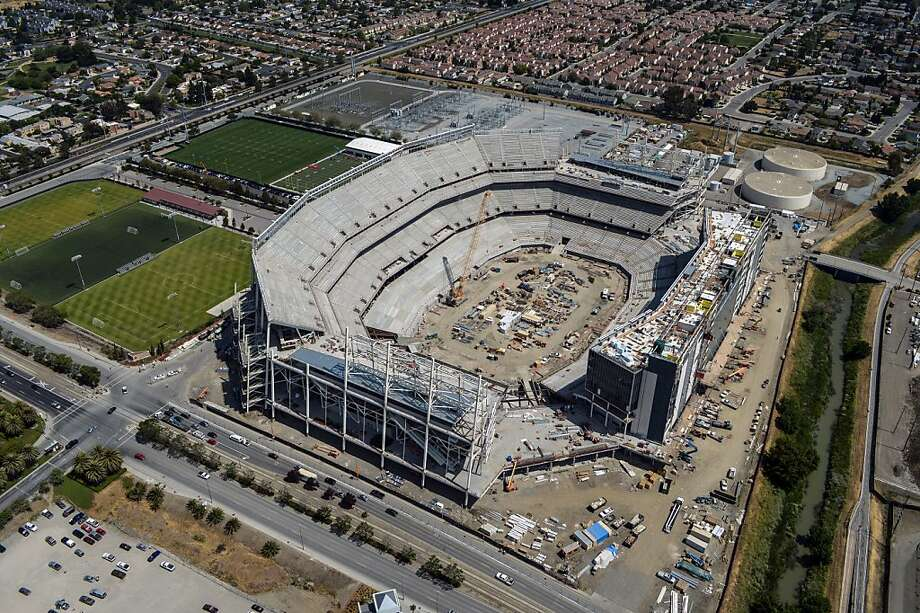 A lack of parking at the new Levi's Stadium in Santa Clara means the 49ers will not have weeknight games anytime soon. Photo: Mark DeFeo, Aerialsondemand.com