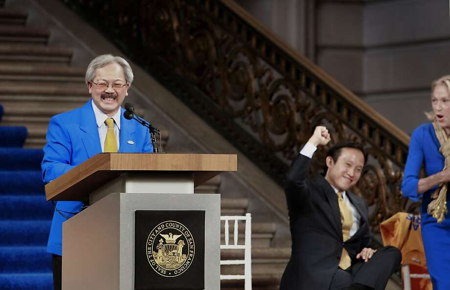 San Francisco Mayor Ed Lee delivers the news that the Bay Area has been awarded Super Bowl L. He's joined by Board of Supervisor David Chiu and Charlotte Schultz, chief of protocol,  at City Hall in San Francisco, Calif. on Tues. May 21, 2013. Photo: Michael Macor, The Chronicle