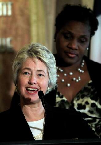Mayor Annise Parker speaks to the media in the City Hall Rotunda, regarding the announcement that Houston will host the 2017 Super Bowl LI, Tuesday, May 21, 2013, in Houston. Photo: Karen Warren, Houston Chronicle / © 2013 Houston Chronicle