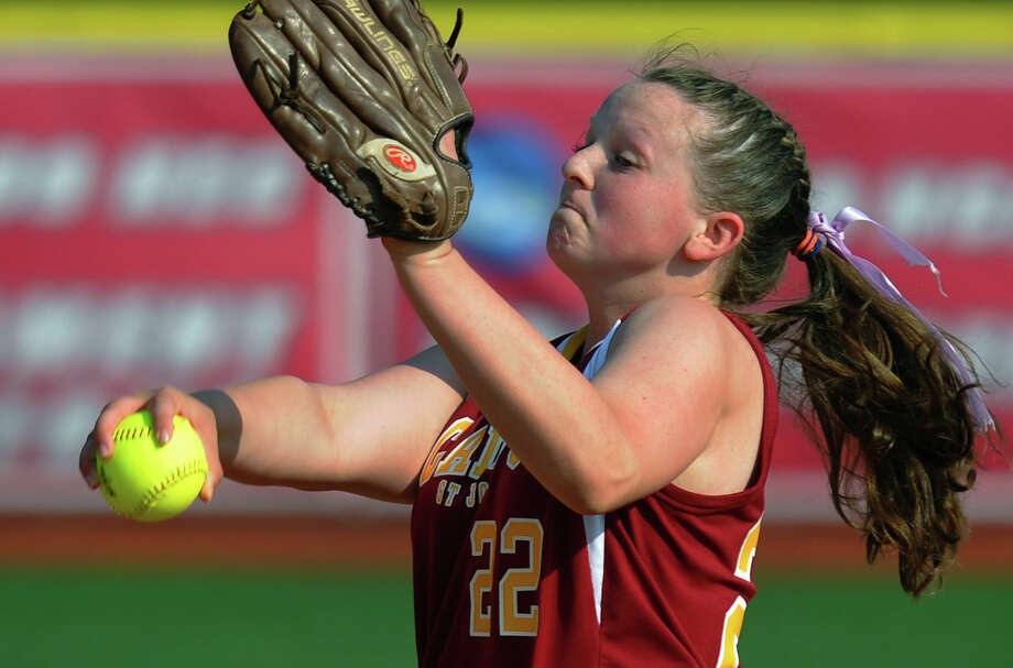 St. Joseph Nicole Williams pitches against Darien, during FCIAC Softball Championship semi-final action at Sacred Heart University in Fairfield, Conn. on Tuesday May 21, 2013. Photo: Christian Abraham / Connecticut Post