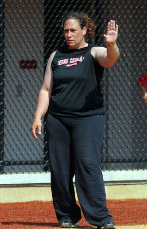 New Canaan Head Coach Danielle Simoneau, during FCIAC Softball Championship semi-final action against Fairfield Ludlowe at Sacred Heart University in Fairfield, Conn. on Tuesday May 21, 2013. Photo: Christian Abraham / Connecticut Post