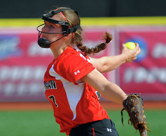New Canaan's Ali Reilly pitches, during FCIAC Softball Championship semi-final action against Fairfield Ludlowe at Sacred Heart University in Fairfield, Conn. on Tuesday May 21, 2013. Photo: Christian Abraham / Connecticut Post