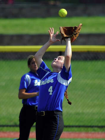 Fairfield Ludlowe's Alice Nelson catches a pop fly, during FCIAC Softball Championship semi-final action against New Canaan at Sacred Heart University in Fairfield, Conn. on Tuesday May 21, 2013. Photo: Christian Abraham / Connecticut Post