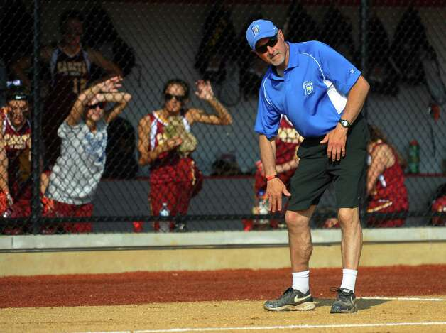 Darien Head Coach Nick DeMaio, during FCIAC Softball Championship semi-final action against St. Joseph at Sacred Heart University in Fairfield, Conn. on Tuesday May 21, 2013. Photo: Christian Abraham / Connecticut Post