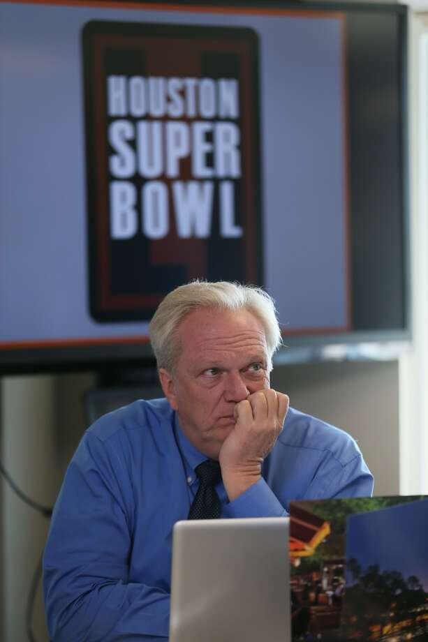 Houston 2017 Super Bowl committee member Mark Miller watches and waits for the decision on the 51st Super Bowl which was won by Houston over a bid from South Florida.