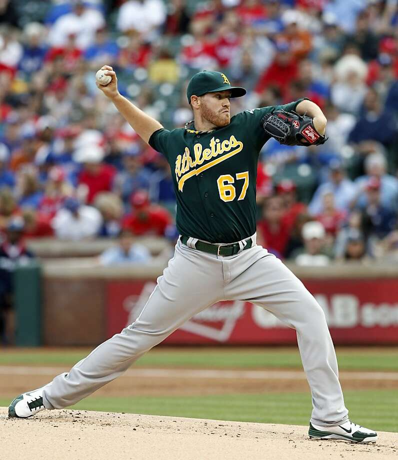 Dan Straily had his best game  in the majors as the A's beat the Rangers 1-0. Photo: Jim Cowsert, Associated Press