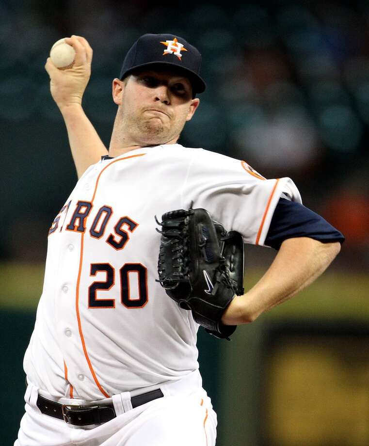Astros starting pitcher Bud Norris pitches during the first inning.