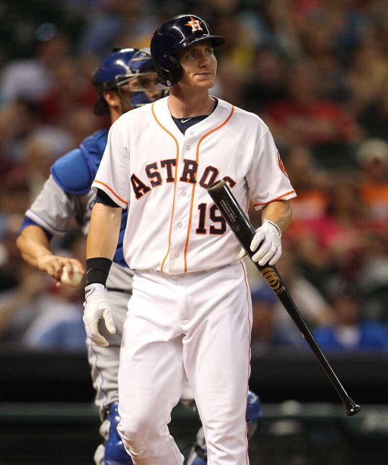 Astros center fielder Robbie Grossman strikes out.