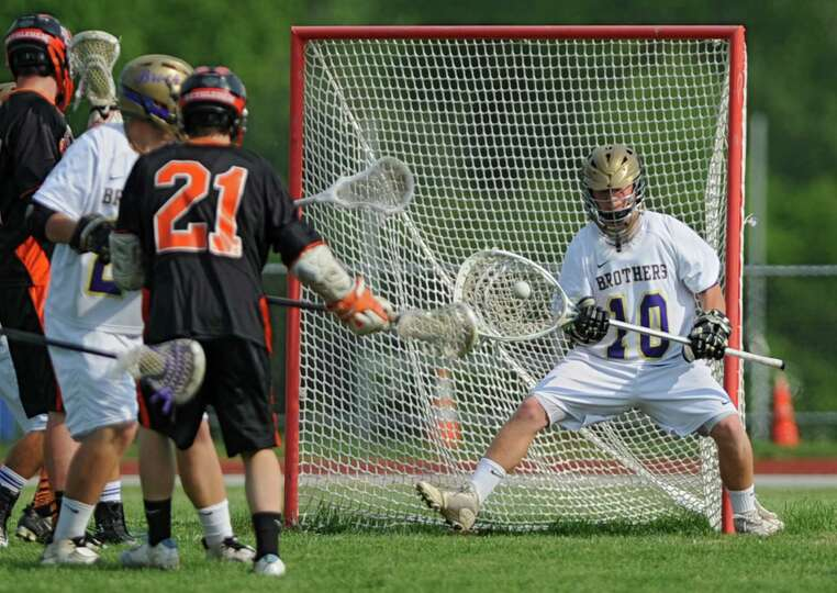 CBA goalie Connor Wacksman makes a save during the Section II Class A boys' lacrosse quarterfinal ga