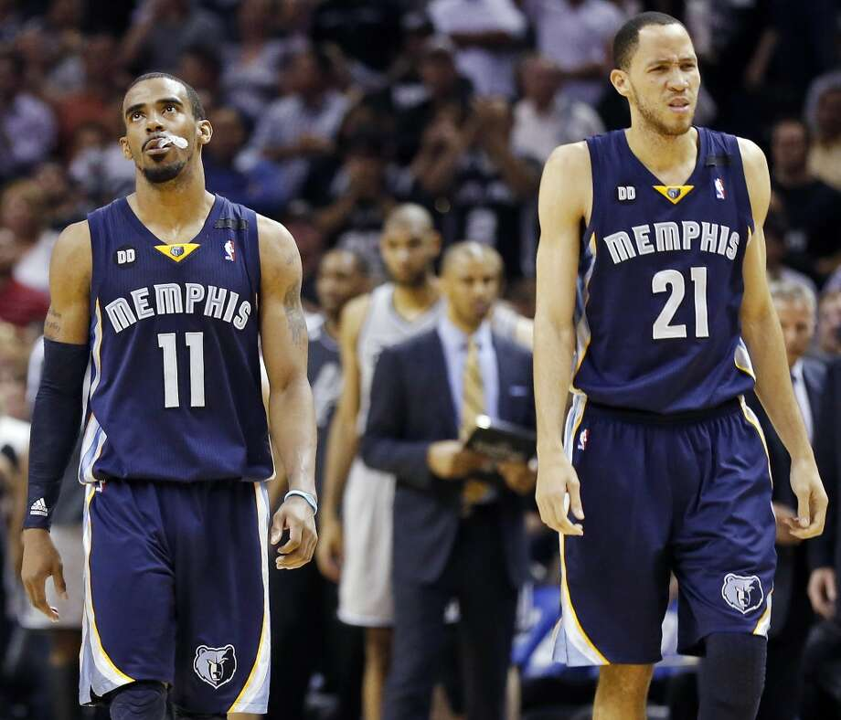 The Grizzlies' Mike Conley (left) and Tayshaun Prince react late in overtime action of Game 2 in the 2013 Western Conference finals against the Spurs on Tuesday, May 21, 2013 at the AT&T Center. The Spurs won 93-89 in overtime.