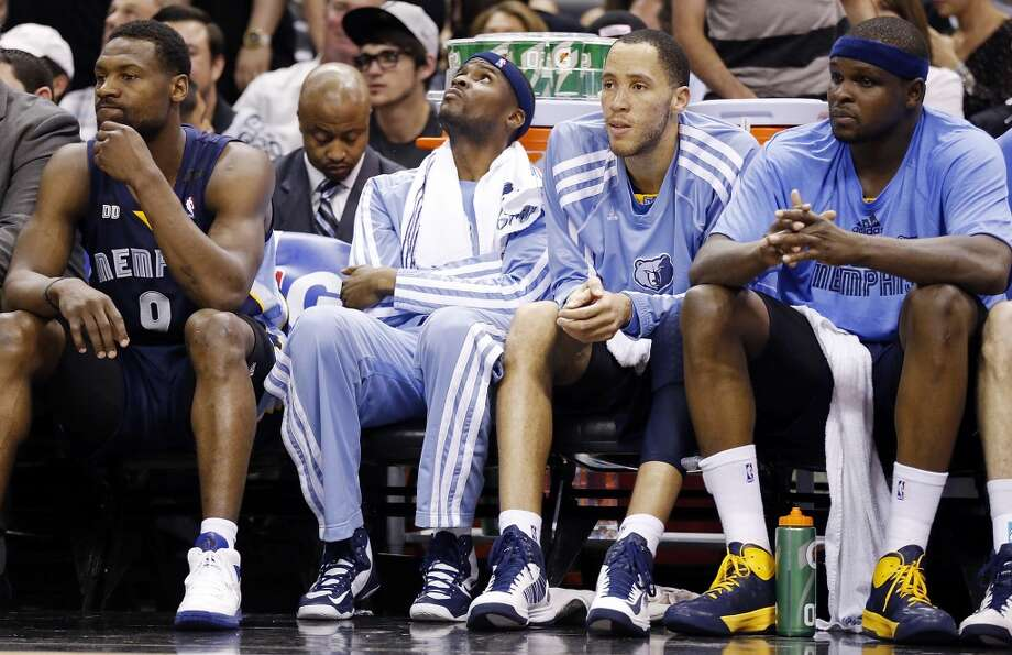 The Grizzlies' Tony Allen (from left), Keyon Dooling, Tayshaun Prince and Zach Randolph sit on the bench during second half action in Game 2 of the 2013 Western Conference finals Tuesday, May 21, 2013 at the AT&T Center. The Spurs won 93-89 in overtime.