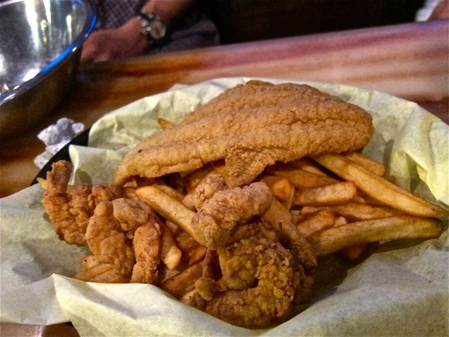 Basket of fried catfish and shrimp at Cajun Kitchen. Photo: Alison Cook, Houston Chronicle