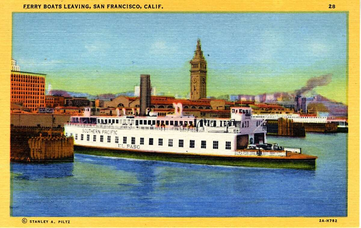 Vintage linen postcard showing a ferry leaving the San Francisco dock. The tower of the Ferry Building is in the distance.