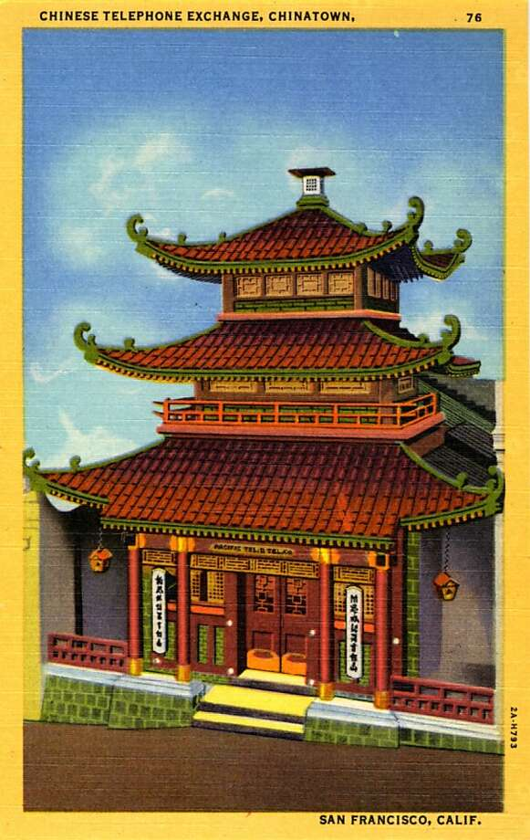 Vintage linen postcard showing the exterior of a pagoda style building that houses the Chinatown telephone exchange.  Photo: Curt Teich Postcard Archives